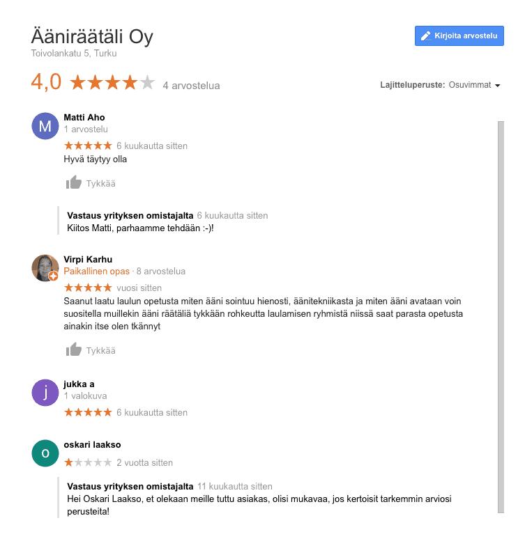 Ääniräätälin Google My Business -arvostelut