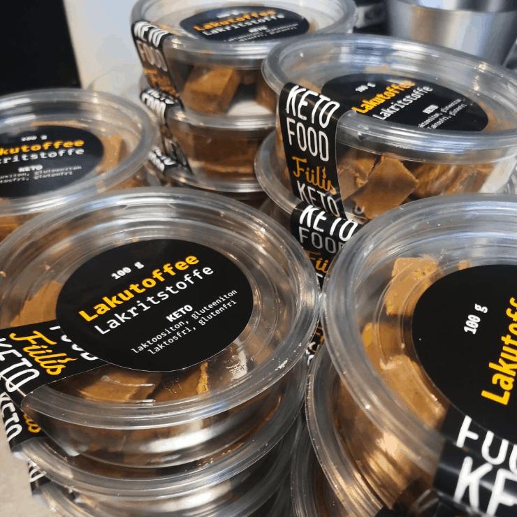 Fiilis Café & Bistro Ketotoffeen pakkaus makuna lakritsi